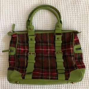 Boden Green and Red Plaid Satchel, Wool